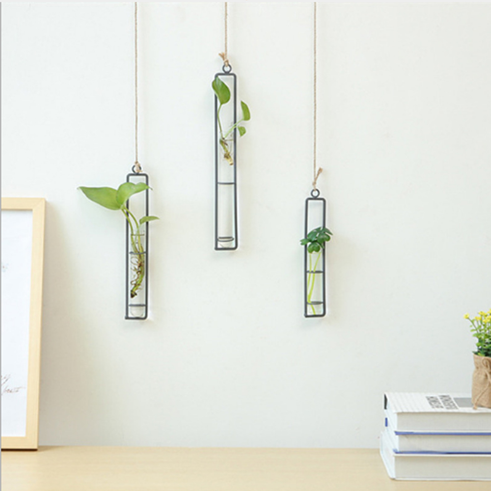 3.88US $  Creative Wall Hanging Flower Vase Iron Glass Hydroponics Planter Pot Transparent Hanging F...