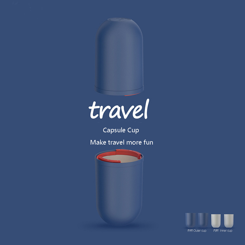 Brand Creative Capsule Travel Cup Portable Toothbrush Storage Box 360ml Cup Travel Accessories