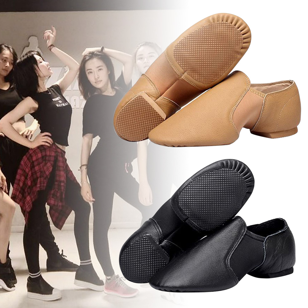 Leather Slip On Elastic Shoes All Sizes Adult Children Split Sole Jazz Shoes YA88