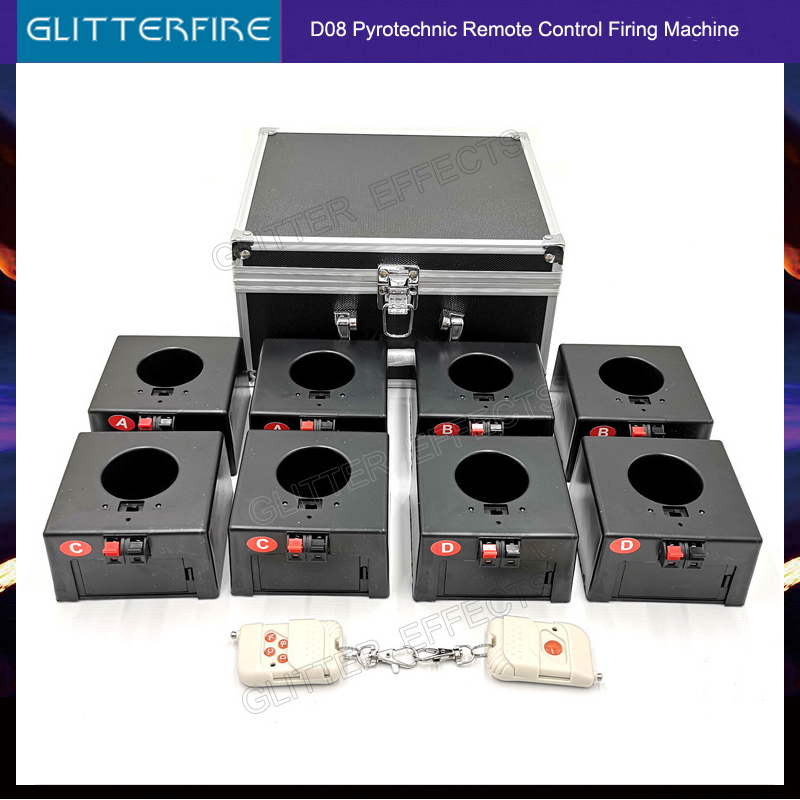 Cold Firework Ignition Machine Wireless Remote Pyrotechnics 8 Cues Receiver Stage Equipment Fountain System 1case 8 Base Firing|Stage Lighting Effect| |  - title=
