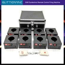 Máquina de ignición de fuegos en frío, sistema de fuente de equipo de escenario receptor de 8 tacos, pirotécnico remoto inalámbrico, 1 funda y 8 bases