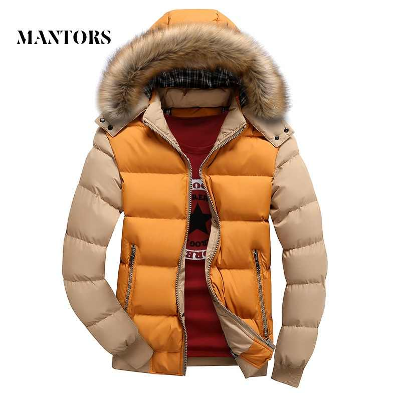 2019 Men Down Jacket Winter New Male Casual Hooded Outwears Coats Warm Fur Parka Overcoat Men's Solid Thick Fleece Zipper Jacket