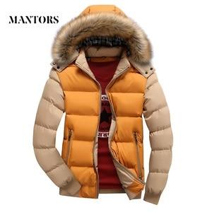Image 1 - 2020 남성 다운 자켓 겨울 신 남성 캐주얼 후드 아웃웨어 코트 따뜻한 모피 파커 오버 코트 남성 솔리드 두꺼운 플리스 지퍼 자켓