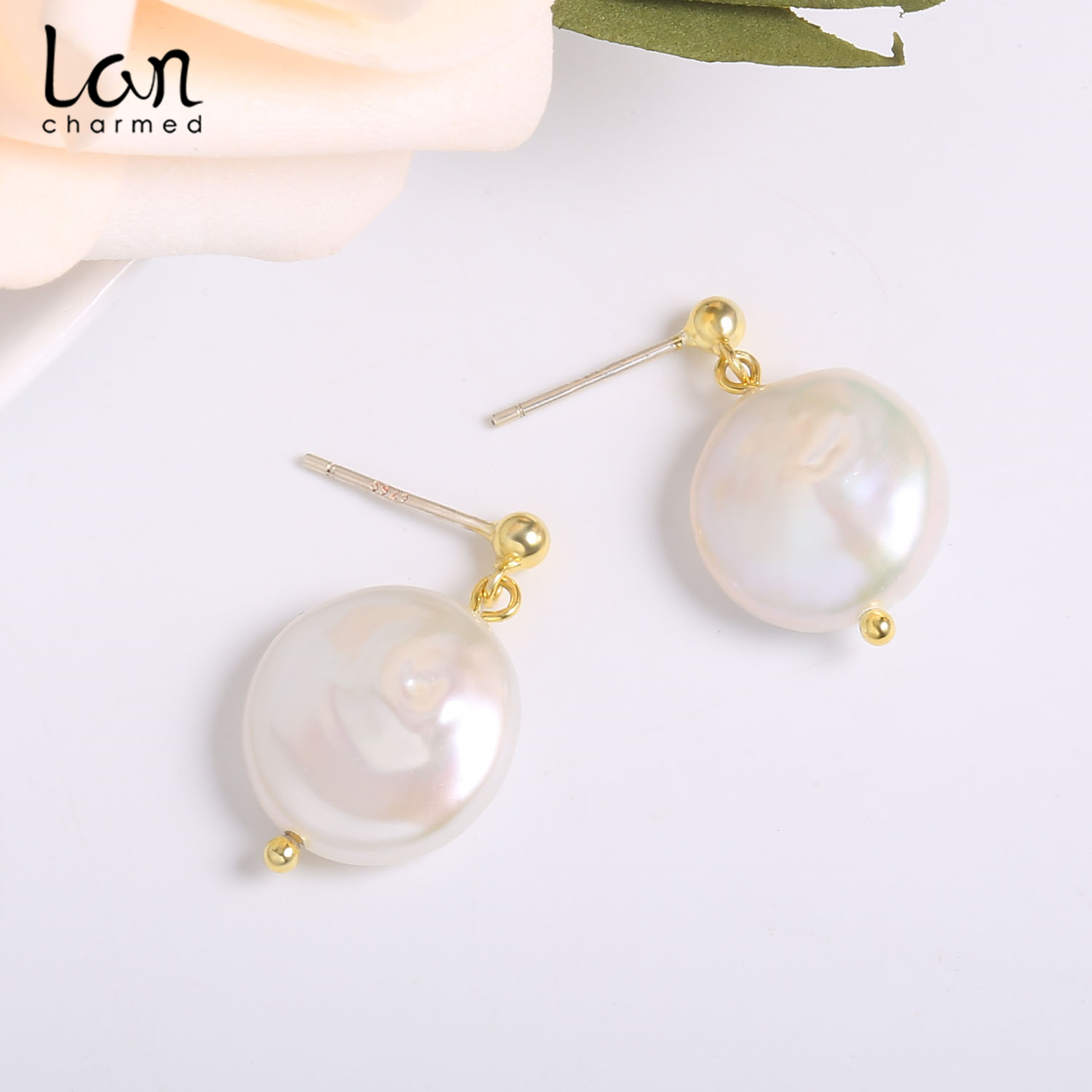 New Sale Gold Plated Sterling Silver Earrings Freshwater Baroque Earrings Peal For Women 39 s Silver Jewelry Earrings Pearl in Earrings from Jewelry amp Accessories