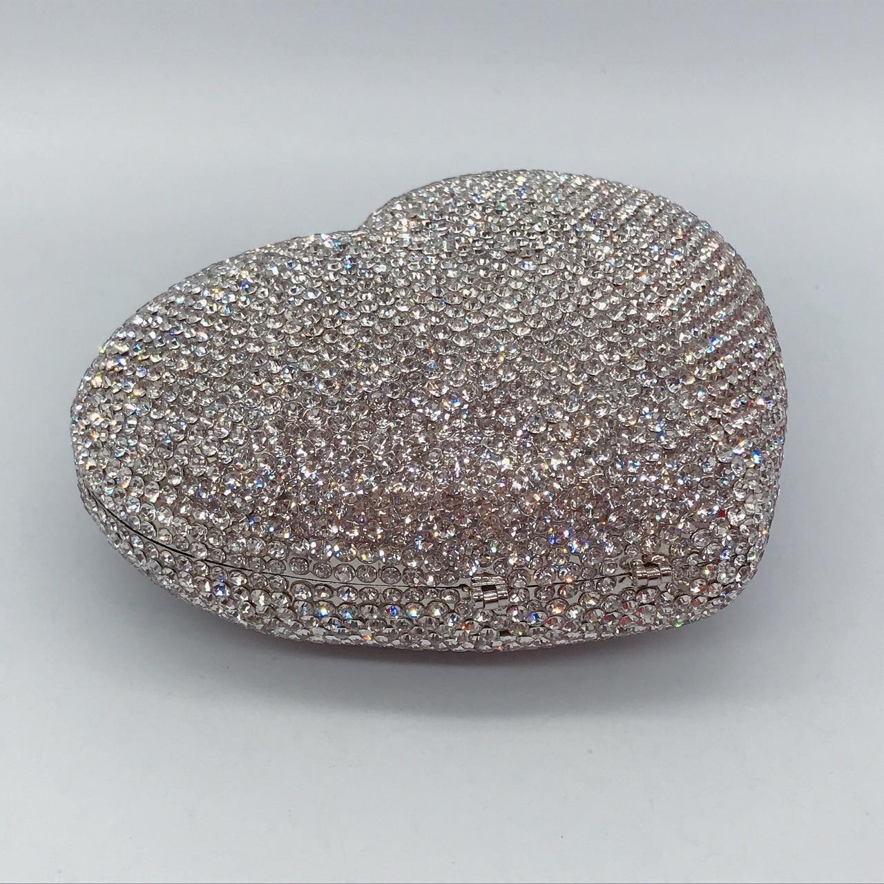 Bag For Women Red Heart Crystal Evening Clutch Bags Rhinestone Diamonds Bridal Handbag Wedding Party Women's Purse-BeeInFly