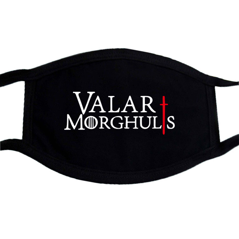 Valar Morghulis Game Of Thrones Hip Hop Face Mask Black Winter Warm Mouth Muffle Mask Unisex  Dustproof Washable Masks