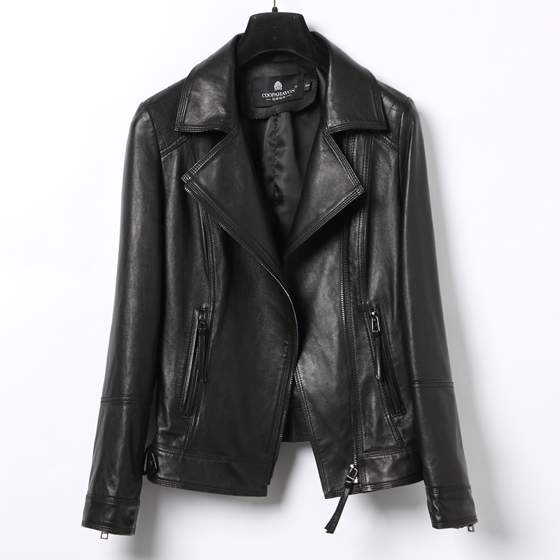 Genuine Women Real Sheepskin Leather Bomber Jacket Spring Autumn Plsu Size Coat CN126P01 MF143