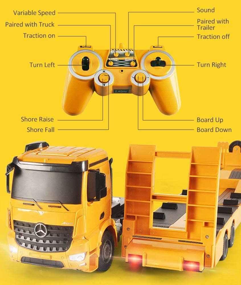 RC รถบรรทุกพ่วงที่ถอดออกได้รถกึ่งพ่วงรีโมทคอนโทรล Trailer รถบรรทุก Electronics ของเล่นเสียงและไฟ