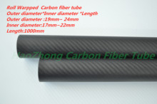 3k Carbon Fiber Tube  19mm 20mm 21mm 22mm 23mm 24mm (Roll Wrapped) with1000mm long,Light Weight, High Strength