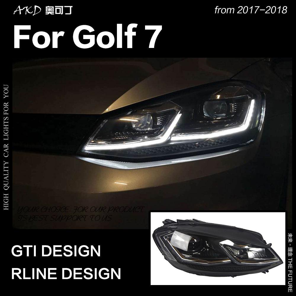 AKD автомобильный Стайлинг для VW Golf 7 MK7 светодиодная фара Golf7.5 R линейный дизайн DRL Hid динамический сигнал головная лампа Bi Xenon аксессуары