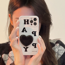 Korean HAPPY Letters Love Heart Bracket Soft Case For IPhone 7 8 Puls X XR XS 11 12 Pro Max Lovely Holder Protection Back Cover
