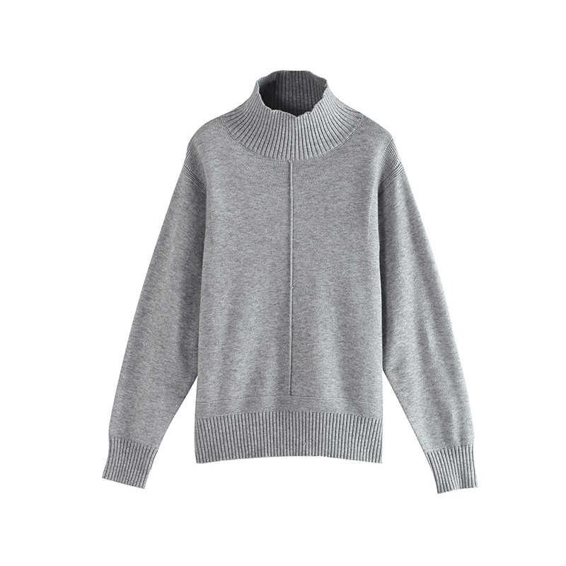 Toyouth sólido cuello de tortuga de manga larga otoño suéter mujeres suelta Pullover Tops