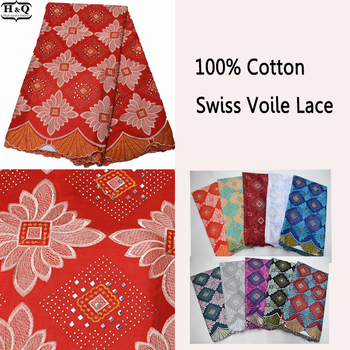 Asoebi Style Dresses African Cotton Fabric Embroidered Lace With Stones Swiss Voile Lace 100% Cotton 5 Yards Nigerian Dry Lace