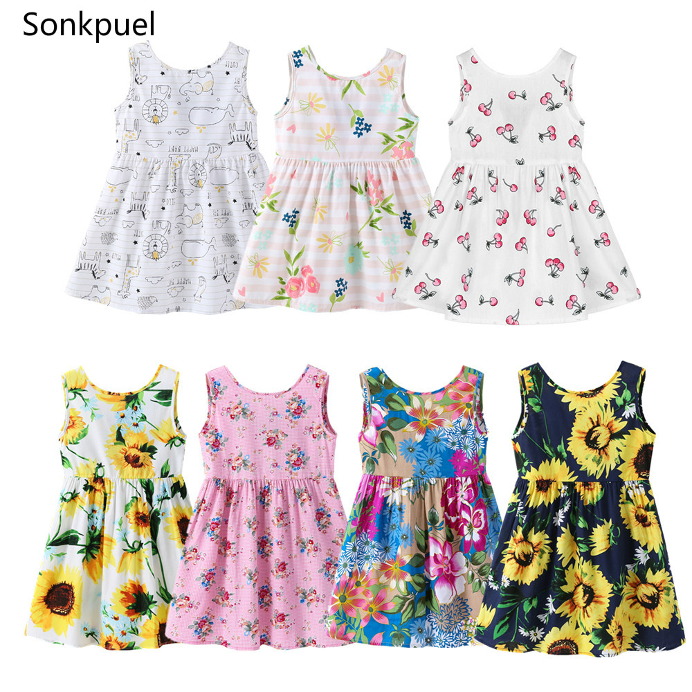 1-7 Years Baby Girls Sleeveless Flower Print Dresses Clothes Kids Summer Princess Dress Children Party Ball Pageant Dress Outfit 1