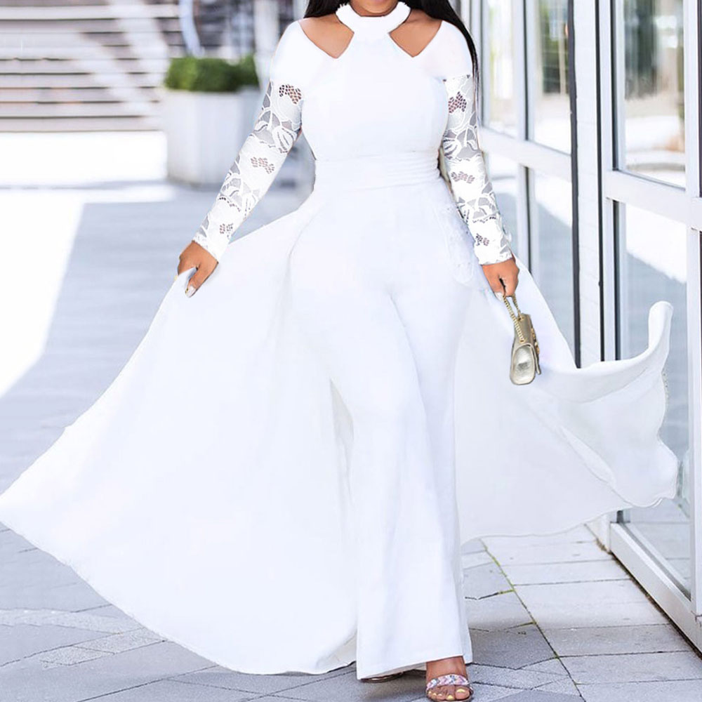 Lace Long Sleeve White Rompers Womens Jumpsuit Elegance Swallowtail Sexy Halter Bodycon Wide Leg Female Long Jumpsuits Party