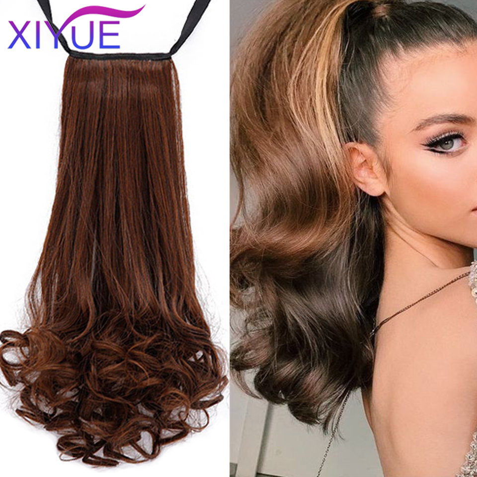 XIYUE Afro Fake Hair Bun Piece Blonde Long Straight Drawstring Ponytail Synthetic Pony Tail Hair Extensions Clip Ins For Black