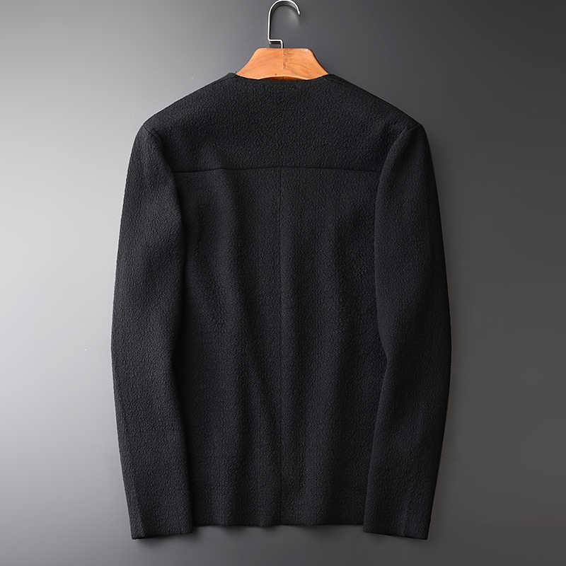 Mannen Nieuwe Mode V-hals Vest Zwarte Trui Hight Kwaliteit Slim Fit Effen Kleur Herfst En Winter Heren Truien
