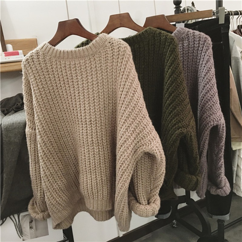 Autumn Winter Knitted Sweater Pull Femme Oversize Loose Long Sleeve Solid Color Long Warm Sweater Jumper For Women