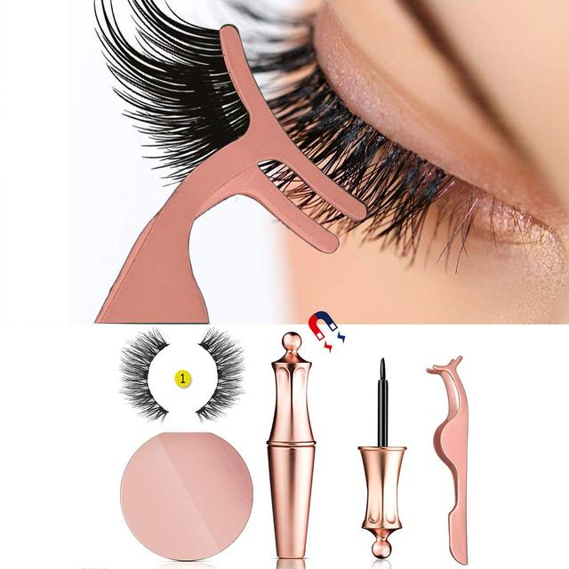 2019 New Hot Magnetic Liquid Eyeliner & Magnetic False Eyelashes Waterproof Long Lasting Eyeliner False Eyelashes with Tweezer