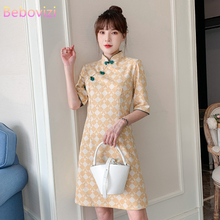 Cheongsam-Dress Qipao Short-Sleeve Traditional-Chinese-Clothing Yellow Modern Plus-Size