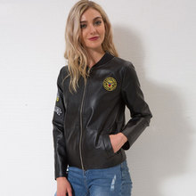 Diwish PU Leather Jacket Women Faux Trench Coat  Female Cuasal Clothes 3D Print Girl Jackcts Gothic Motorcycle
