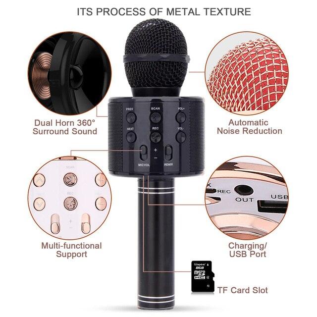 Microphone 3in1 karaoké sans fil 6