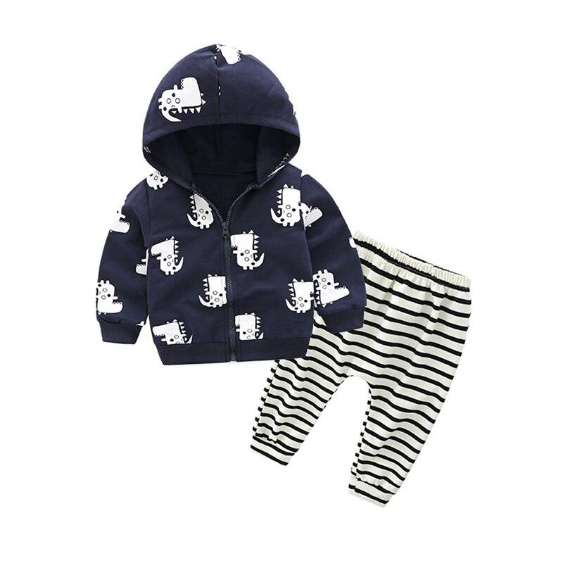 Kinder Baby Frühling Herbst Kleidung Set Mit Kapuze Tops + Hosen 2Pcs Neugeborenen 0-24M Junge Mädchen Kleidung anzug Dinsour Infant Junge Outfits Anzug