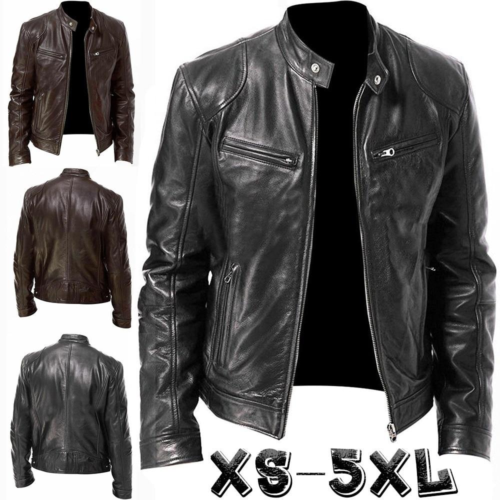 Men Classic Leather Stand Collar Zipper Short Jackets Motorcycle Side Zipper Pockets Jackets Long Sleeve Winter Biker Jackets