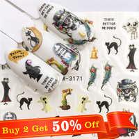 WUF  1 Sheet Halloween Nail Art Sticker Skull Bone Water Transfer Decals Nails Foil Manicure Decoration
