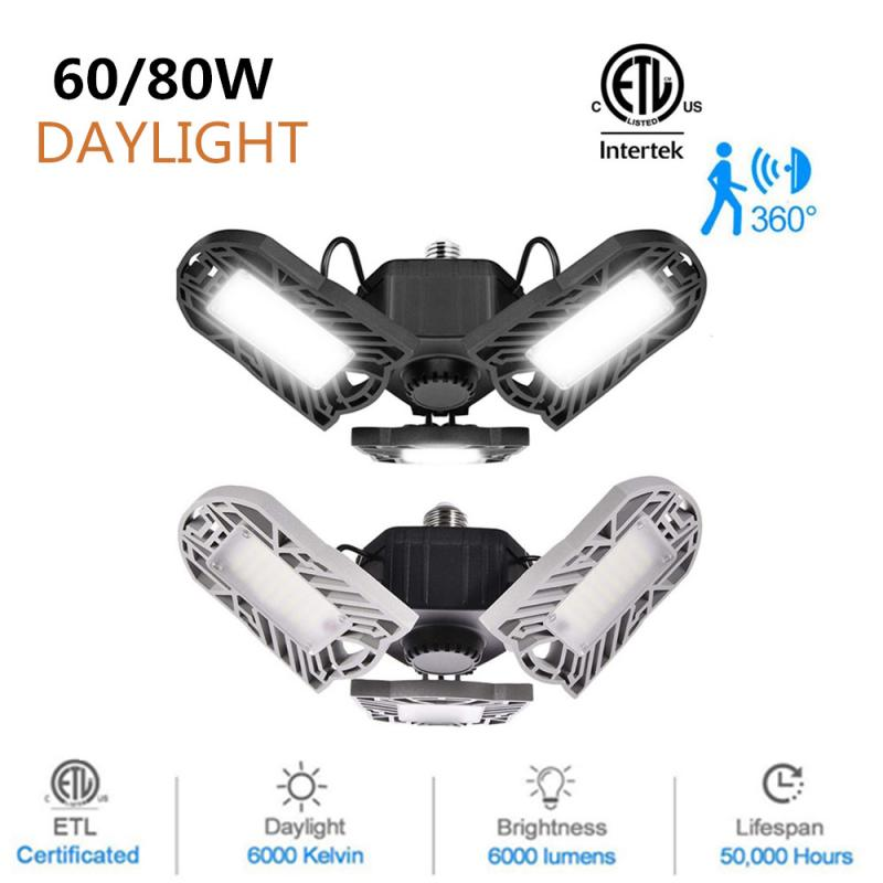 PIR Radar 144 LED High Bay Ceiling Lights E26 60/80W Deformable Garage Lights Indoor Lighting Industrial Lamp For Workshop Shop