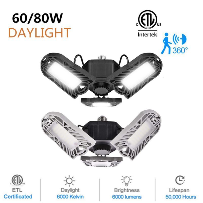 PIR Radar 144 LED High Bay Ceiling Lights E26 60/80W Deformable Garage Lights Indoor Lighting Industrial Lamp For Workshop Shop