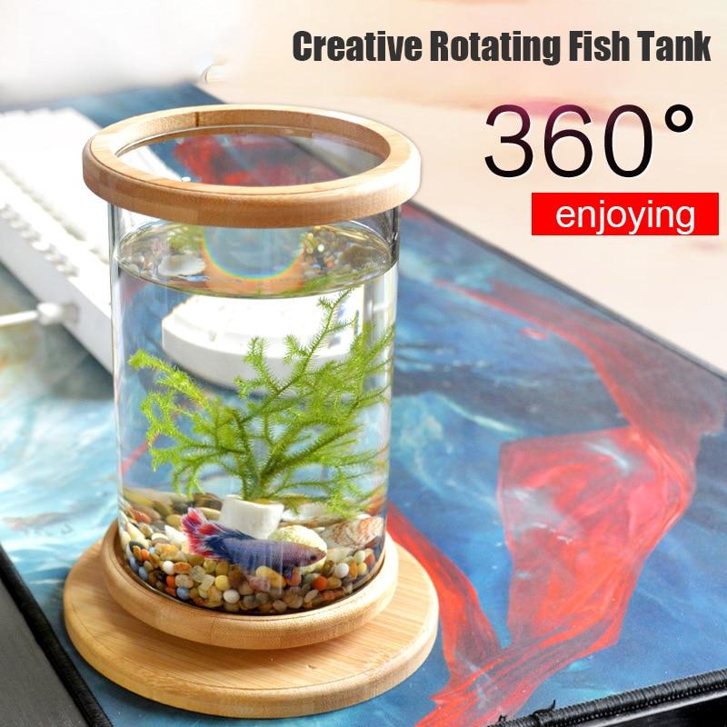 360 Degree Rotating Glass Betta Fish Tank Bamboo Base Mini Fish Tank Decoration Rotate Fish Bowl Aquarium Accessories