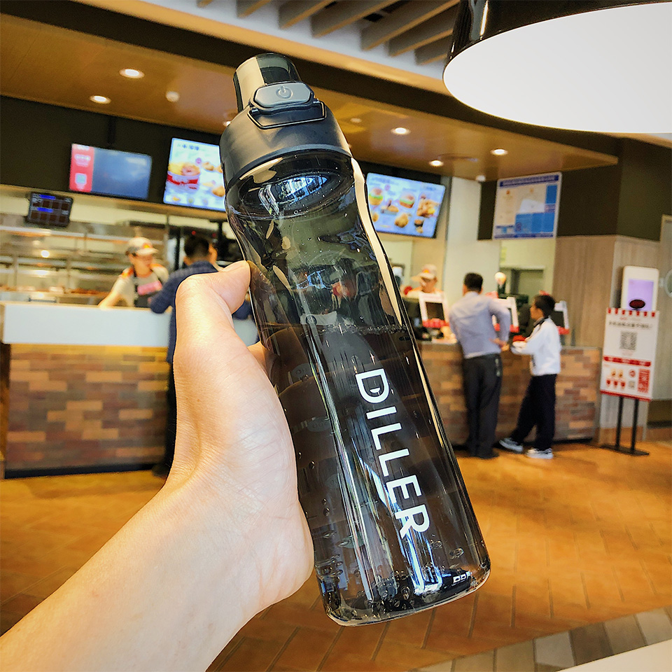 H77b374c564c0417ebfff766dfaeaef687 DILLER Water Bottle Popular Gray Men Outdoor Sport Travel My Drink Bottle Portable Leakproof Plastic Milk fruit gym Bottles