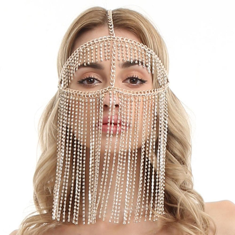 Image 2 - Belly Dance Headdress Mask Chain for Women   Venetian Mardi Gras Costumes Mask Ball Face Chain Jewelry for Nightclub Party    -