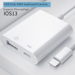 Adaptador usb otg para iphone ipad ios13 relâmpago para usb 3.0 adaptador u-disco mouse teclado conversor relâmpago para câmera adaptador