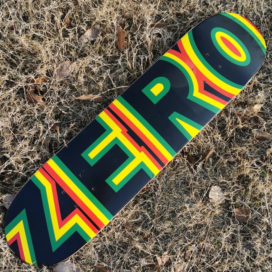 Good Quality ZERO 7 Plies Of Canadian Maple Epoxy Glue Double Kick Skateboard Deck Two Plies Dyed Blue Color Professional Level
