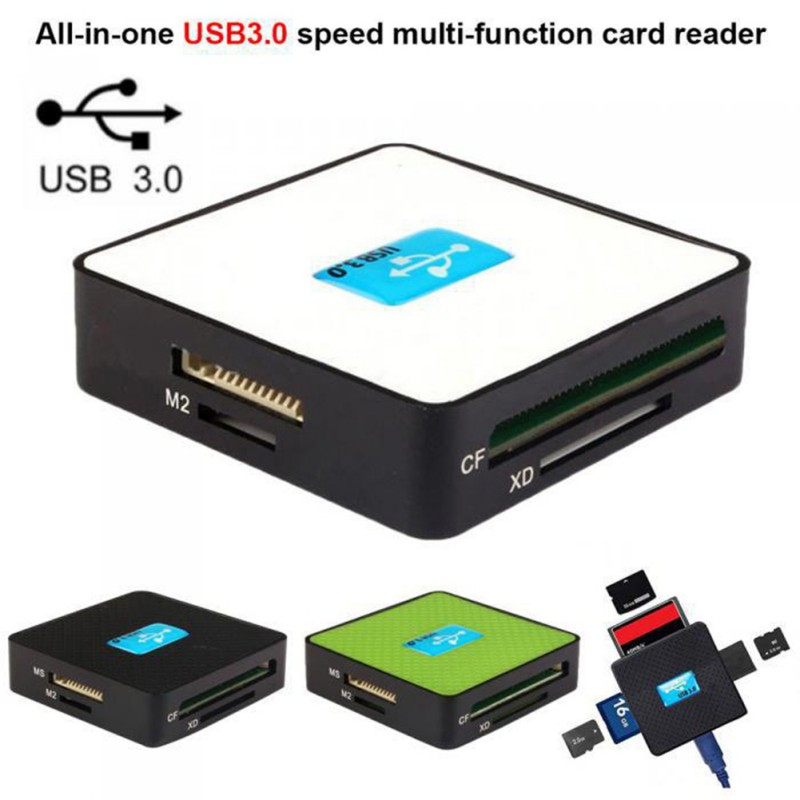 USB 3.0 Memory Card Reader All In One 5 Gbps High Speed TF CF XD M2 MS Micro-Secure Digital Cards Adapter