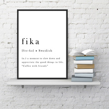 Inspirational Poster Fika Swedish Quotes Wall Art Canvas Painting Modern Posters And Prints Scandinavian Pictures Bedroom Decor