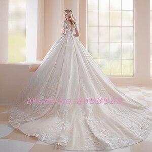 Image 2 - 2020 prinzessin Hochzeit Kleider Vestidos De Casamento Drei Viertel Sleeve Button Up Zurück Perlen Kristall Appliques Spitze Kleider
