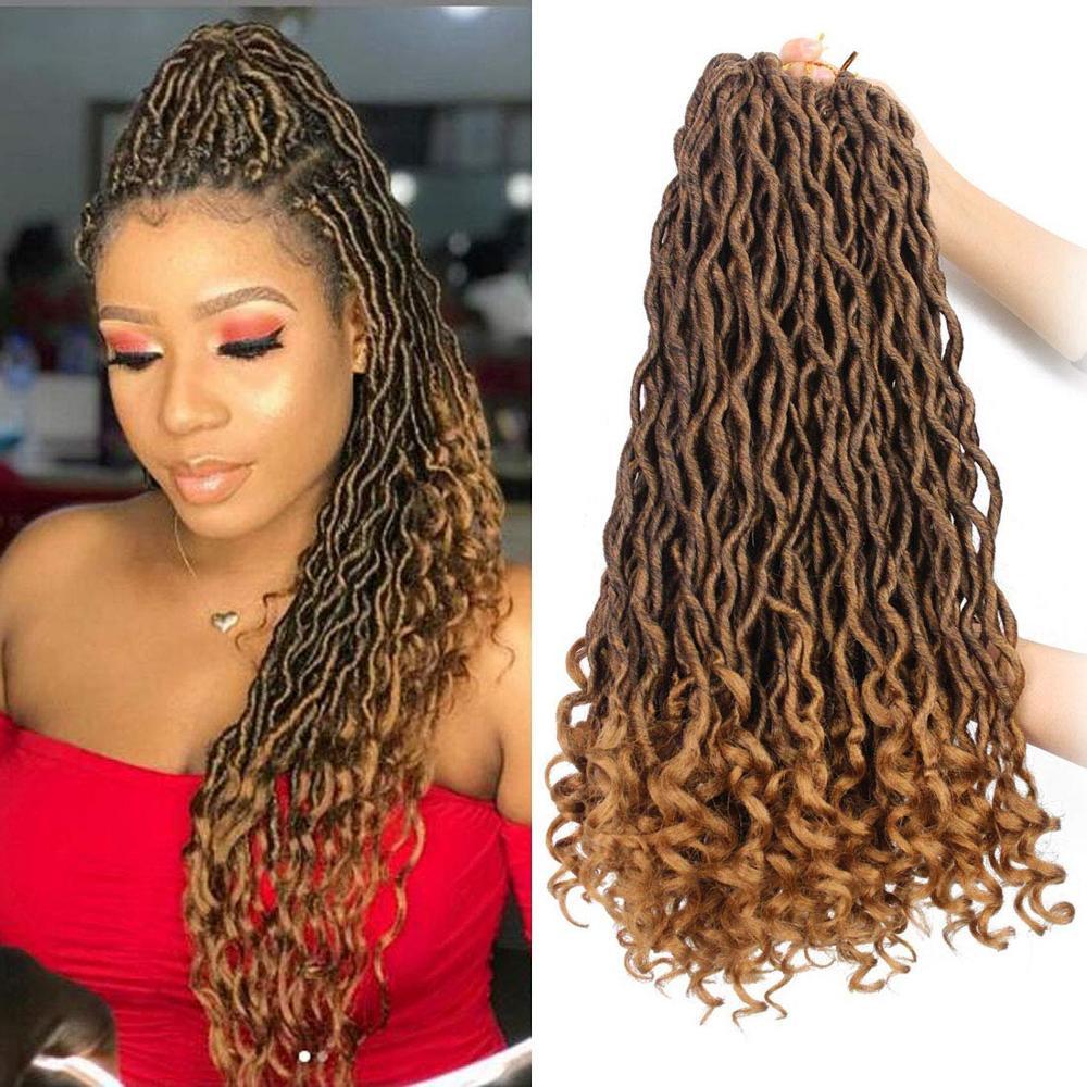 Ombre Box Goddess Faux Locs Crochet Hair Synthetic Crochet Braids Dreadlocs Hair Extensions Passion Twist Braiding Hair Bundles