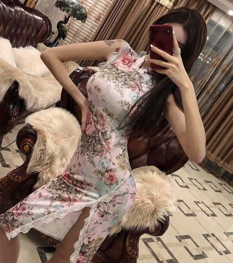 2019 Summer Sexy WOMEN'S Dress Cheongsam Dress Lace Edge Slim Fit Slit Printed Nightclub Princess Dress H4033
