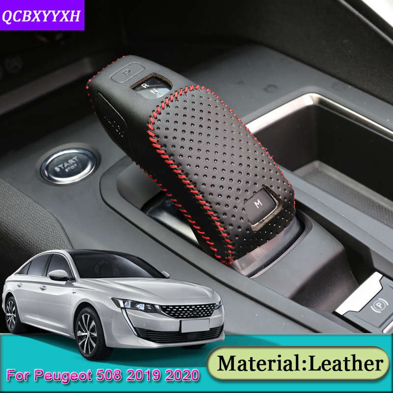 Car Automatic Transmission Shift Leather Case Cover Accessories For Peugeot 508 2008 2019-2020 3008 4008 5008 2016-2019 208 2020 image