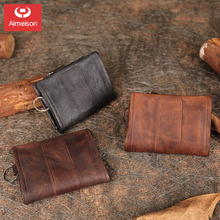 Retro casual zipper short three-fold page leather wallet men's multi-card leather handmade small  soft wallet women ASBD025
