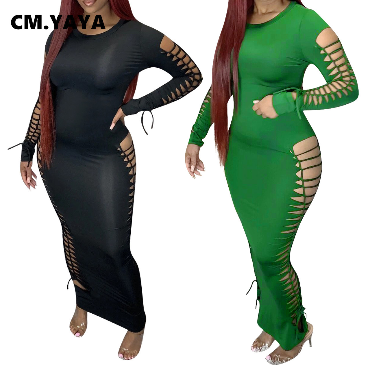 CM.YAYA 2021 Spring Women Long Sleeve Lace Up Side Sexy Bodycon Maxi Dress Hollow Out Party Night Club Long Dresses Vestido|Dresses| - AliExpress