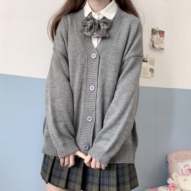 Cardigan Women Solid Oversize Harajuku Loose Sweaters Student Preppy Sweet Girl Cute Knitwear New All-match Soft Hot Sale Basic 4