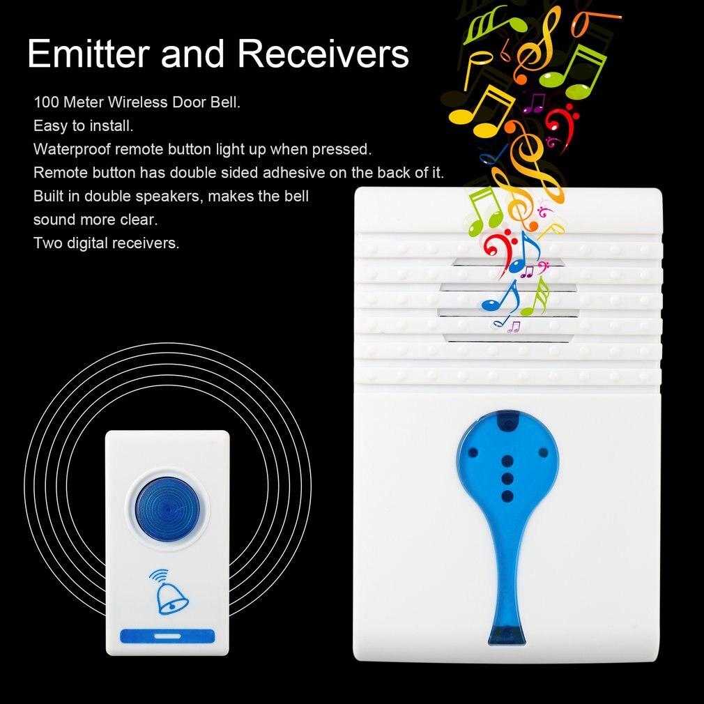 House Building Wireless Digital Flashing light LED Doorbell 38 Chimes Music Room Office Gate Door bell +2 Digital Receiver