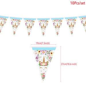 Image 5 - Tęczowa opaska jednorożec banery papierowe jednorożec dekoracje na imprezę urodzinową dla dzieci impreza jednorożec wiszące Garland flagi przybory dla niemowląt