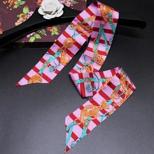 Image 4 - Headband Women Small Ribbon Multi function Fashion Lady 100% Silk Riband Scarves Handbag Scarf  Female Clothing Match Bandeaus