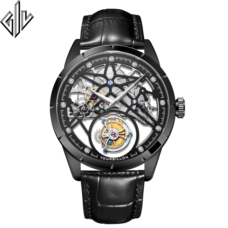 GIV Tourbillon Skeleton Design Watch Men Waterproof Top Brand Luxury Mechanical Watch Sapphire Clock Male Relogio Masculino