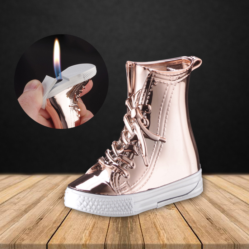 Creative Shoes Lighters Zinc Alloy and ABS Material Gas Refillable and Flame Adjustable Kitchen Restaurant Decorations Tools